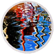 Reflection Of A Flamingo 1 Round Beach Towel