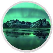 Reflection Of Aurora Borealis Round Beach Towel