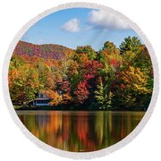 Reflection Of Autumn Trees In A Pond Round Beach Towel