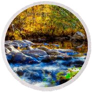 Reflection Of Autumns Natural Beauty Round Beach Towel