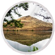 Reflection Of Butte Across From Lepage Rv Park Into Columbia River-oregon Round Beach Towel