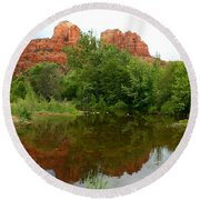 Reflection Of Cathedral Rock Round Beach Towel