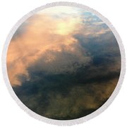 Reflection Of Clouds Round Beach Towel