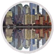 Reflection Of Downtown Nyc Round Beach Towel