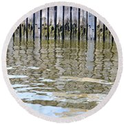 Reflection Of Fence  Round Beach Towel