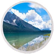 Reflection Of Glaciers And Clouds In Emerald Lake In Yoho National Park-british Columbia-canada Round Beach Towel