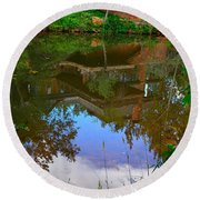 Reflection Of House On Water Round Beach Towel