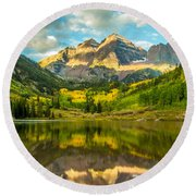 Reflection Of Maroon Bells Round Beach Towel