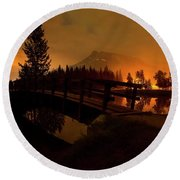 Reflection Of Mountains In Lake, Sunrise Round Beach Towel