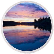 Reflection Of Sunset Sky On Calm Surface Of Pond Round Beach Towel