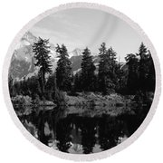 Reflection Of Trees And Mountains Round Beach Towel