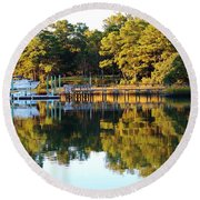 Reflection Of Trees Round Beach Towel