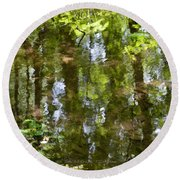 Reflection Of Woods Round Beach Towel