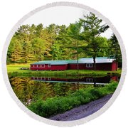 Reflection On The Pond Round Beach Towel