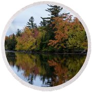 Reflection On The Raquette River Round Beach Towel