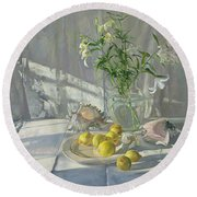 Reflections And Shadows  Round Beach Towel by Timothy  Easton