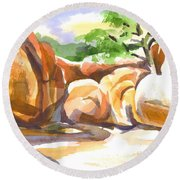 Reflections At Elephant Rocks Round Beach Towel