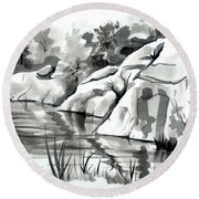Reflections At Elephant Rocks State Park No I102 Round Beach Towel