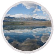 Reflections At Glacier National Park Round Beach Towel