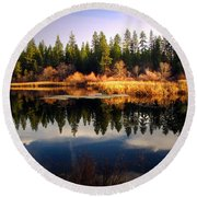 Reflections At Grace Lake Round Beach Towel