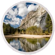 Reflections At Swinging Bridge Round Beach Towel