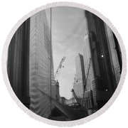 Reflections At The 9/11 Museum In Black And White Round Beach Towel
