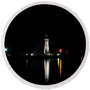 Reflections At The Erie Basin Marina Round Beach Towel