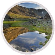 Reflections At The Mountain Lake Round Beach Towel