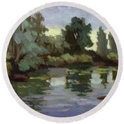 Reflections Duwamish River Round Beach Towel