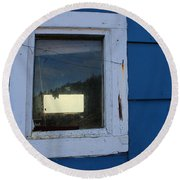 Reflections In A Shed Window - Curiosity - Fishing Round Beach Towel