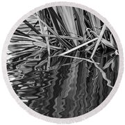 Reflections In Black And White Round Beach Towel