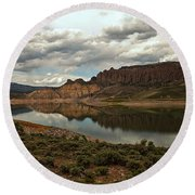 Reflections In Blue Mesa Round Beach Towel