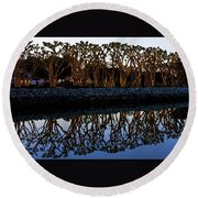 Reflections In First Light Round Beach Towel