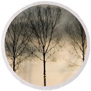 Reflections In Grey II Round Beach Towel