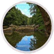 Reflections In Slippery Rock Creek Round Beach Towel