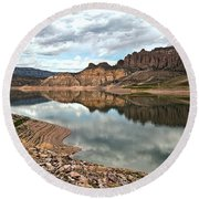 Reflections In The Blue Mesa Round Beach Towel