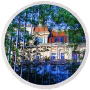 Reflections In The City Round Beach Towel