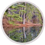 Reflections In The Pines Round Beach Towel