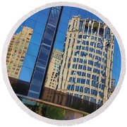 Reflections In The Rolex Bldg. Round Beach Towel