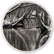 Reflections In The Snow Round Beach Towel