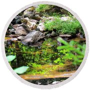 Reflections In The Stream Round Beach Towel