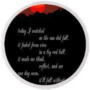 Reflections In Twilight Round Beach Towel