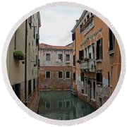 Reflections In Venetian Canal Round Beach Towel