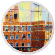 Reflections Of A City Round Beach Towel