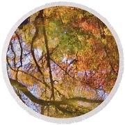 Reflections Of A Colorful Fall 002 Round Beach Towel