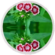 Reflections Of A Summer Bouquet Round Beach Towel