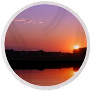 Reflections Of A Sunset Round Beach Towel