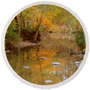Reflections Of An Autumn Day Round Beach Towel