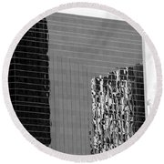 Reflections Of Architecture In Black And White Round Beach Towel
