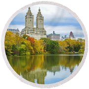 Reflections Of Autumn Central Park Lake  Round Beach Towel